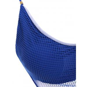 Sexy Halter Neck Blue Mesh Design Hollow Out One-Piece Swimwear For Women - BLUE S