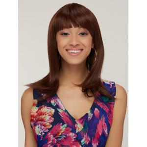 Synthetic Silky Straight Capless Medium Full Bang Wig - BROWN