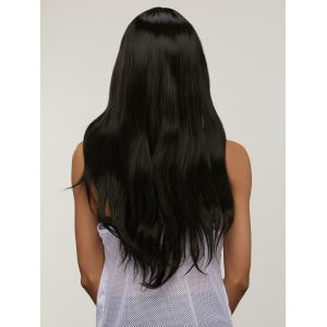 Silky Straight Capless Long Middle Part Synthetic Wig - BLACK