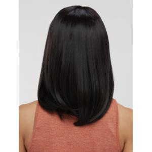 Synthetic Side Parting Medium Straight Wig - BLACK