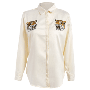Tiger Embroidered Fitting Shirt - OFF WHITE L