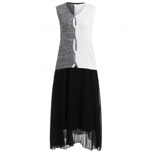 Sleeveless Knitwear and Pleated Dress Twinset - Black - L