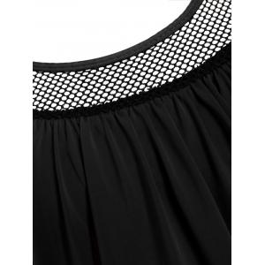 Polka Dot Print Round Neck Racerback Tankini with Padded Bra - BLACK S