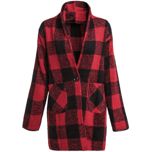 One Button Long Sleeve Plaid Big Pocket Wool Coat - RED/BLACK M