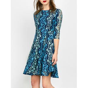 Lace Embroidered Mini Skater Dress - Blue - S