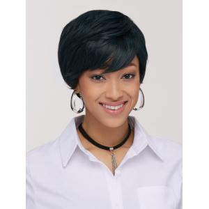 Manly Synthetic Ink Turquoise Short Shaggy Side Bang Wig For Women - COLORMIX
