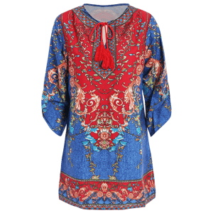 Stylish V Neck 3/4 Sleeve Vintage Print Women's Dress - PURPLISH BLUE M