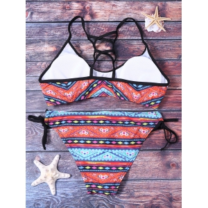 Ethnic Printed Strappy Bikini Set For Women - COLORMIX S
