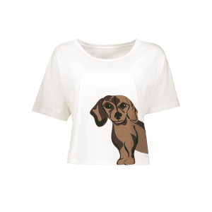 Sweet Round Neck Short Sleeve Puppy Pattern Women's White T-Shirt -