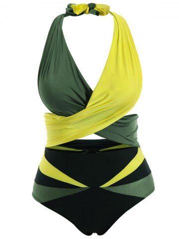 Shops Stylish Halter Sleeveless Color Block Two-Piece Women's Swimsuit BLACKISH GREEN M