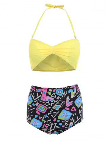 Hot Active Yellow Bra and Printed High Waist Briefs Tankini For Women