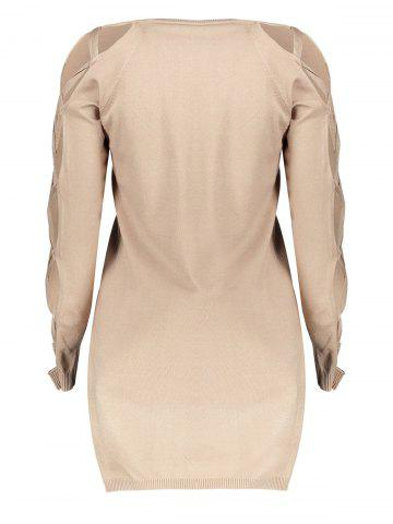 Fancy V Neck Cutout Sleeve Sweater - ONE SIZE NUDE Mobile