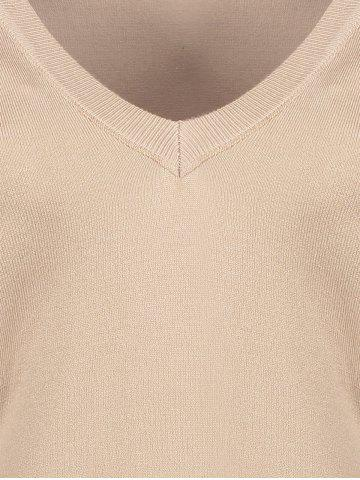 Cheap V Neck Cutout Sleeve Sweater - ONE SIZE NUDE Mobile