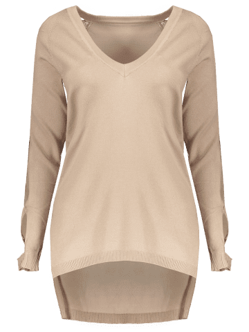 Online V Neck Cutout Sleeve Sweater - ONE SIZE NUDE Mobile