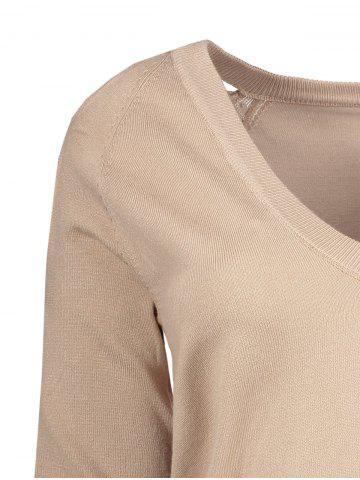 Trendy V Neck Cutout Sleeve Sweater - ONE SIZE NUDE Mobile