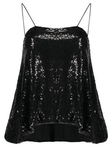 Fancy Cami Sequined Loose Tank Top - S BLACK Mobile