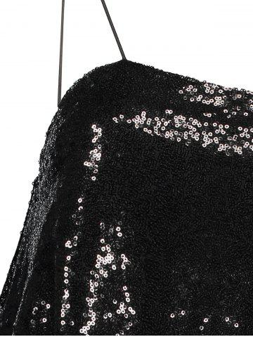 Online Cami Sequined Loose Tank Top - S BLACK Mobile