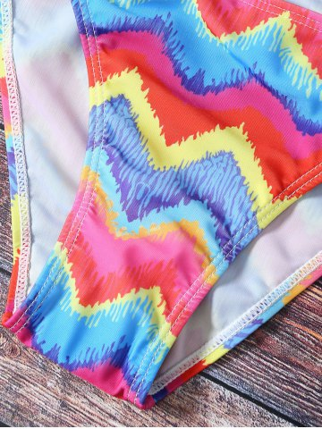 Latest Chic Colorful Zig Zag Print Bikini  For Women - S COLORMIX Mobile