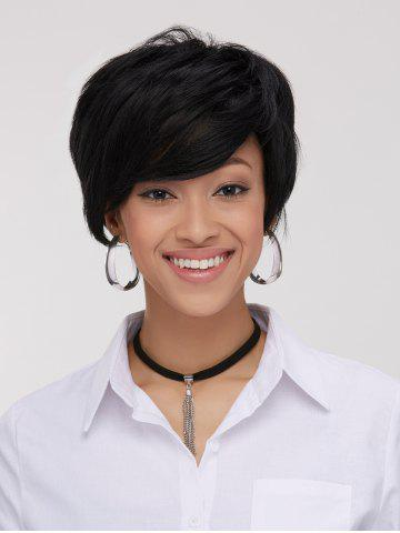 Unique Spiffy Boy Haircut Straight Capless Black Synthetic Wig For Women BLACK