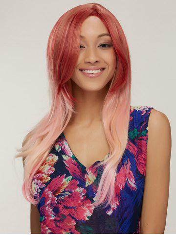 Colored Long Side Parting Natural Straight Synthetic Wig - Colormix