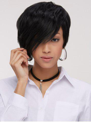 Best Handsome Short Pixie Cut Side Bang Straight Synthetic Wig BLACK