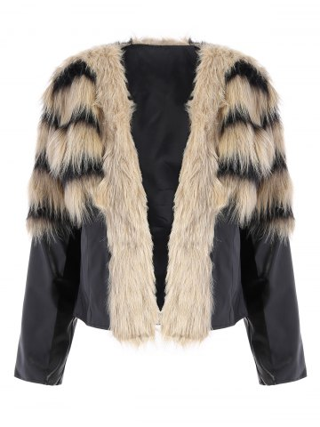 Discount Faux Fur PU Leather Jacket - S COLORMIX Mobile