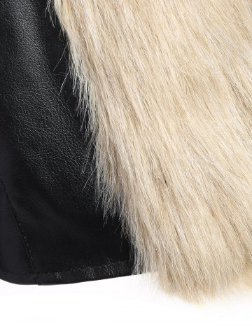 Latest Faux Fur PU Leather Jacket - L COLORMIX Mobile