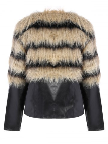 Trendy Faux Fur PU Leather Jacket - L COLORMIX Mobile