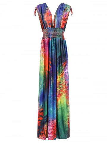 Plunging Neck Feather Print Sleeveless Pleated Maxi Dress