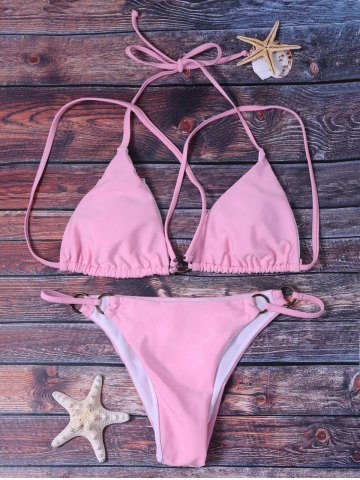 Women's Stylish Halter Pink String Bikini Suit