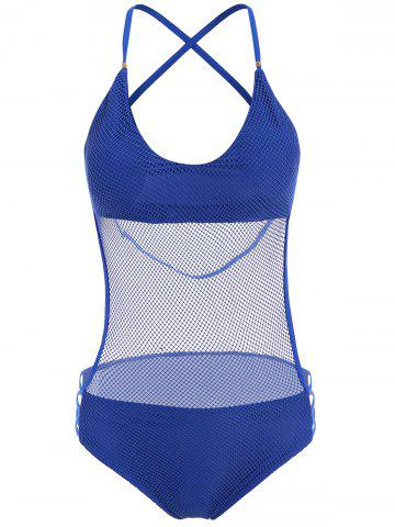 New Sexy Halter Neck Blue Mesh Design Hollow Out One-Piece Swimwear For Women BLUE S