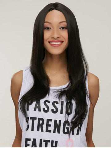 Fashion Silky Straight Capless Long Middle Part Synthetic Wig BLACK