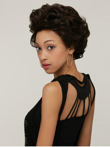 Handsome Short Fluffy Curly Synthetic Wig - Black