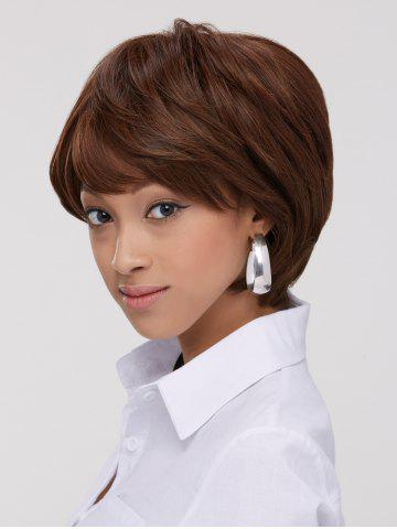 Discount Fluffy Straight Capless Short Synthetic Wig BROWN