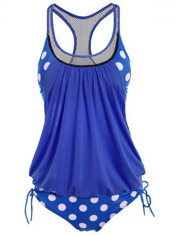 Polka Dot Print Round Neck Racerback Tankini with Padded Bra - Azure - 2xl
