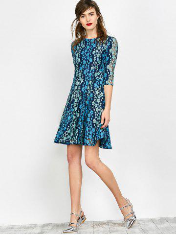 Best Lace Embroidered Mini Skater Dress - S BLUE Mobile
