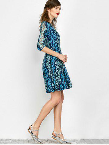 Affordable Lace Embroidered Mini Skater Dress - S BLUE Mobile
