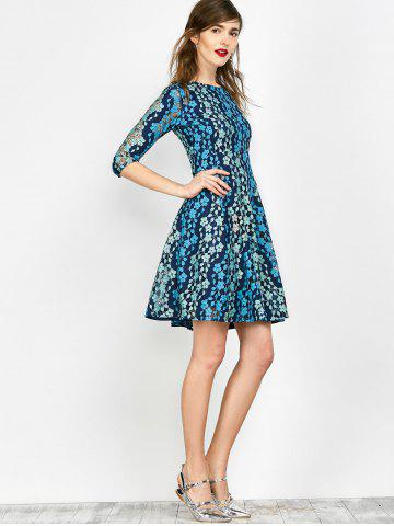 Latest Lace Embroidered Mini Skater Dress - S BLUE Mobile