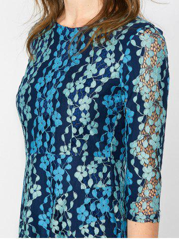 Trendy Lace Embroidered Mini Skater Dress - S BLUE Mobile