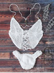Strappy Scalloped Crochet Halter Bikini