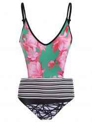 Floral and Stripe Panel Cut Out One-Piece Swimwear