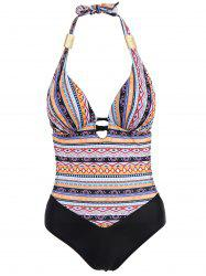 Sexy Halter Spliced Tribal Print Plus Size One-Piece Women's Swimwear