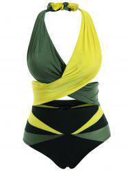 Stylish Halter Sleeveless Color Block Two-Piece Women's Swimsuit -