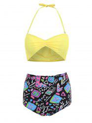 Active Yellow Bra and Printed High Waist Briefs Tankini For Women -