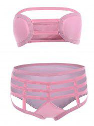 Cut Out Bandage Strapless Bathing Suit Bikini Set