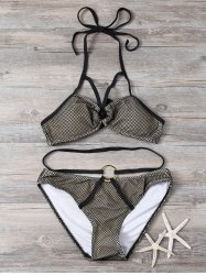 Halter Ring Push Up Bikini Set
