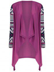 Women's Fashionable Loose Long Sleeve Print Asymmetrical Cardigan - VIOLET ROSE