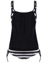 Striped Scoop Neck Blouson Tankini Set - BLACK