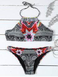 Halter High Neck Geometrical Print Boho Bikini Set - BLACK