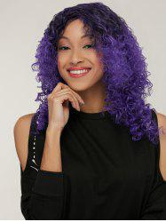 Medium Black Mixed Purple Afro Curly Side Parting Synthetic Wig